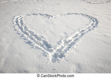Heart shape in snow - Romantic heart shape made in fresh...