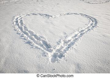 Heart shape in snow - Romantic heart shape made in fresh...