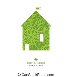 Vector abstract green and white circles house silhouette...