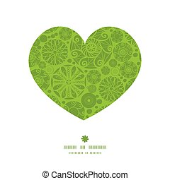 Vector abstract green and white circles heart silhouette...