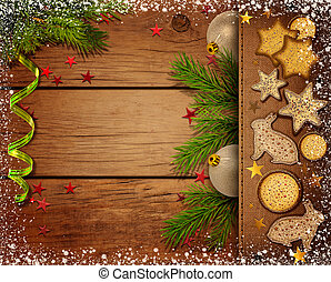 Christmas background - wooden background with branches of...