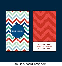 Vector colorful ikat chevron vertical round frame pattern...