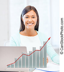 asian businesswoman with laptop and documents - business,...