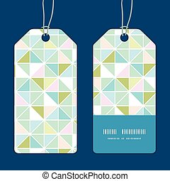 Vector colorful pastel triangle texture vertical stripe frame pattern tags set