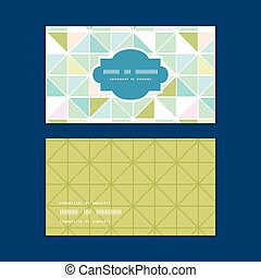 Vector colorful pastel triangle texture horizontal frame pattern business cards set