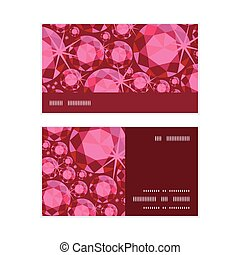 Vector ruby horizontal stripe frame pattern business cards set