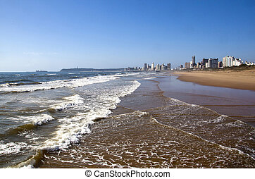 Ocean Shoreline with Hotels on Durban Beach Front - Indian...