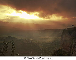 Sunset over Ronda - Beautiful sunset over andalucian town in...