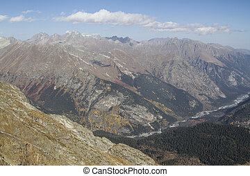 Caucasus mountains near Dombay autumn day