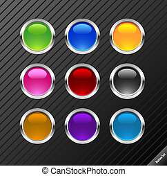 Collection of round glossy vector buttons Different colors,...
