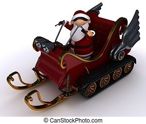 santa in a snowmobile sleigh - 3d render of santat in a...