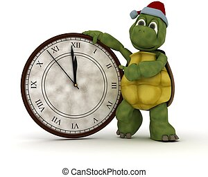 tortoise with a clock at new years - 3D render of a tortoise...