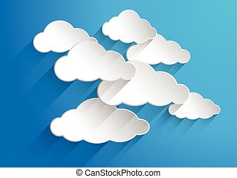 Abstract background composed of white paper clouds over blue...
