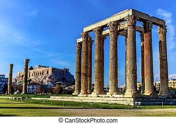 The ruins of ancient temple Zeus, Athens, Greece - ruins of...