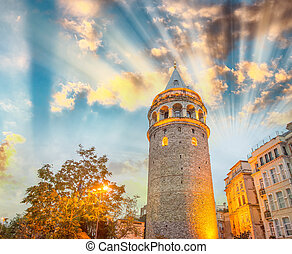 Gorgeous view of Galata Tower at dusk, Istanbul