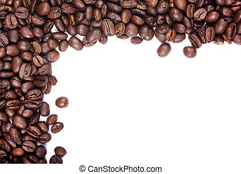 Coffee beans in corner isolated on white background. Empty...