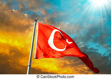 Flag of Turkey waving in the wind with highly detailed...