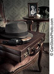 Detective ready to go - Detective equipment with briefcase,...