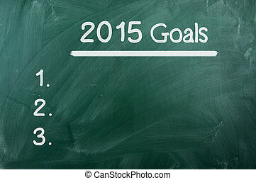 Goals For 2015, Concept on green chalckboard