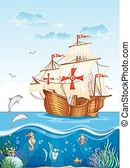 Children's illustration of the water world with a sailing...