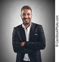 Businessman smiling for the realization of project