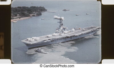 Aerial shot of USS Hornet. - Aerial shot of USS Hornet...