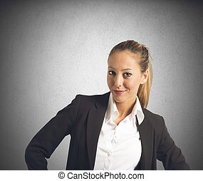 Satisfied businesswoman - A businesswoman satisfied for her...
