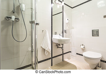 Modern, bright bathroom