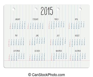 Calendar on notebook page - Hand written calendar of year...