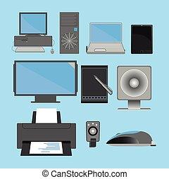 computers and periferials - vector illustrations of PCs Form...