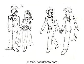 gay marriage illustration - gay marriage and hetro...