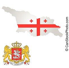 Georgia Flag - Flag and coat of arms of Georgia overlaid on...
