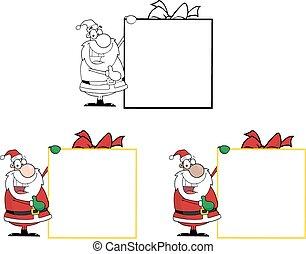 Santa Presenting Big Gift Sign