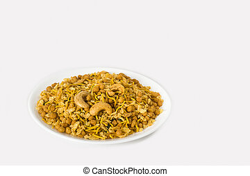 Bombay mix - namkeen - plate of Indian namkeen mixture...