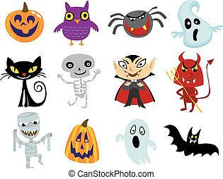Halloween costumes - Set of funny halloween cartoons, owl,...