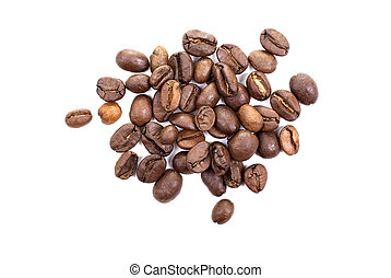Heap of brown roasted coffee beans isolated on white...