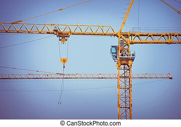 crane construction industry background, retro tone image