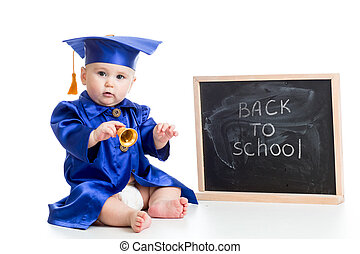 funny baby with bell in academician clothes at chalkboard...