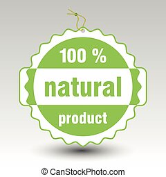 vector green 100 % natural product paper price tag label...