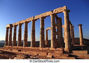antiga, Templo, de, Poseidon, capa, Sounion, Grécia,