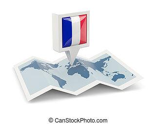 廣場, 別針, 由于, 旗, ......的, 法國, 上, the,...