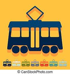 Flat design: tram