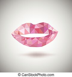 Pink lips made of triangles Vector geometric illustration