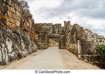 el, león, puerta, en, Mycenae, Argolidam, Greece., viaje,
