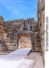 el, león, puerta, en, Mycenae, Argolidam, Greece.,...