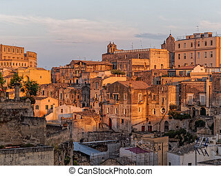 landscape of Matera in the evening - landscape of Matera,...