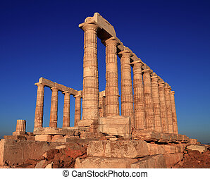the ancient temple of Poseidon . Cape Sounion, Attica,...