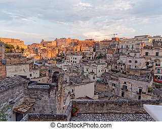 landscape of Matera in the morning - landscape of Matera,...