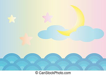 Moon and star over the sea (Pastel color style)