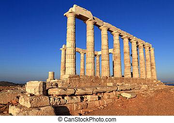 a, Templo, de, Poseidon, capa, Sounion, Grécia,